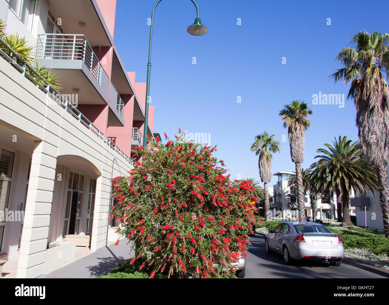 Sunny street of residential district in Melbourne (Australia). Stock Photo