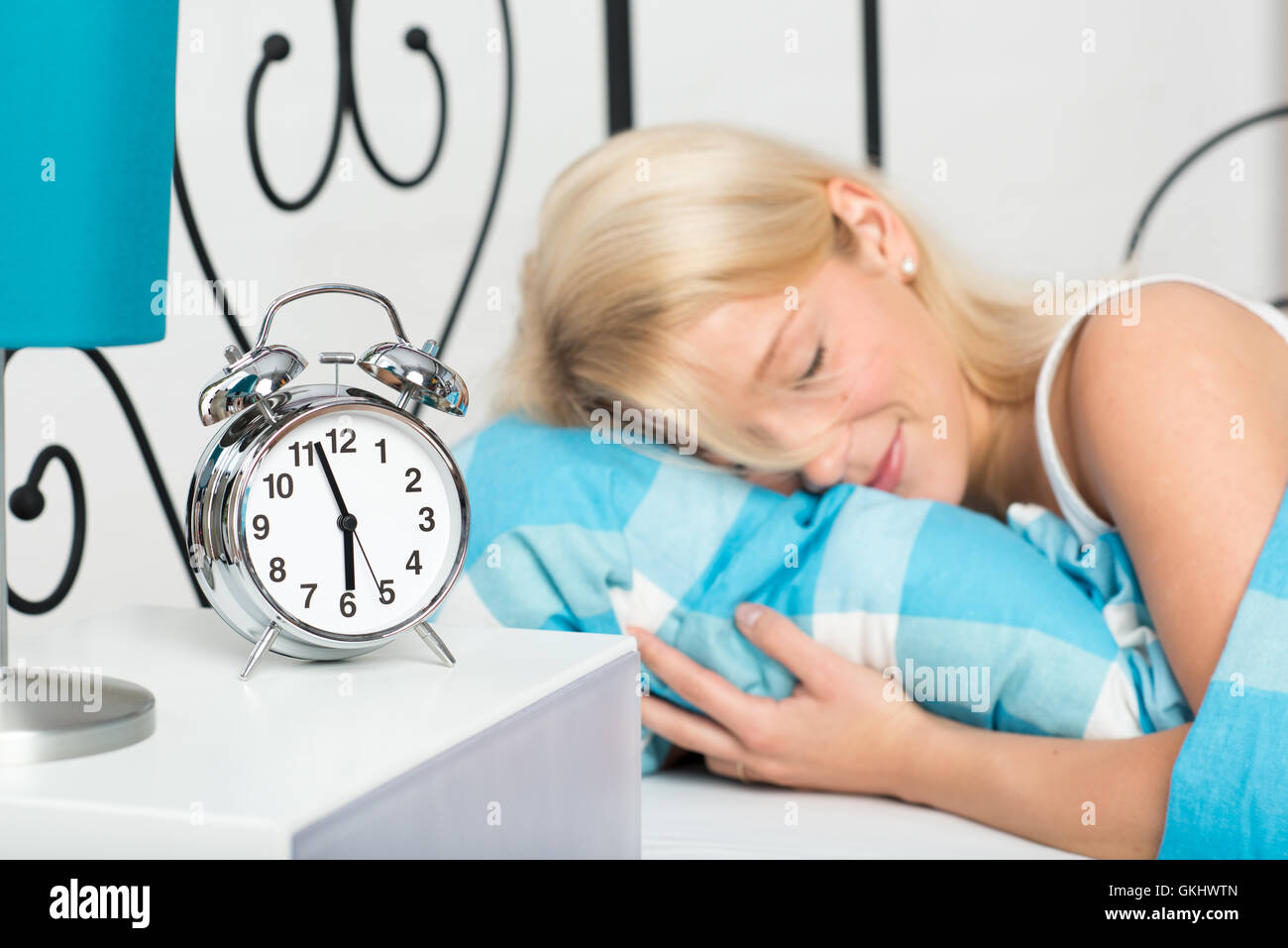 woman bed snug - Stock Image