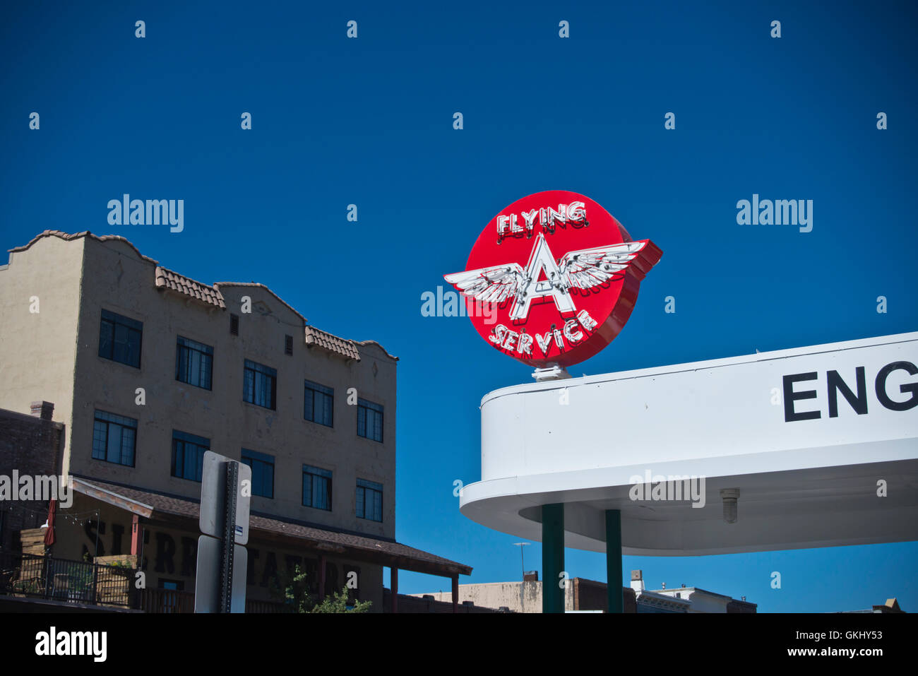 Flying A Service station sign in Truckee, CA - Stock Image