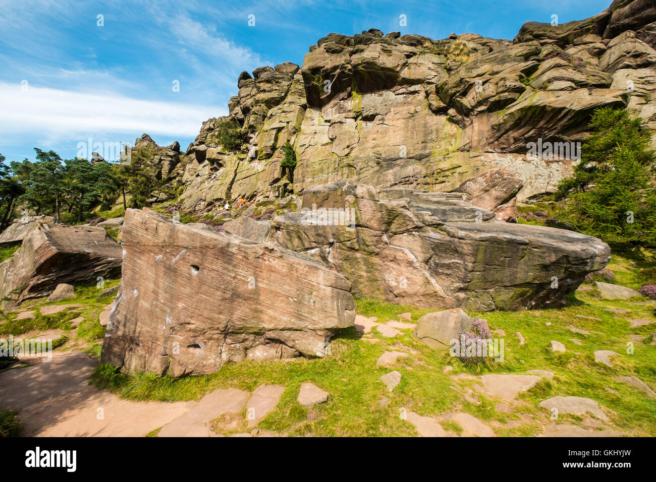 The Upper Tier of The Roaches, a popular gritstone climbing crag in the Peak District National Park - Stock Image