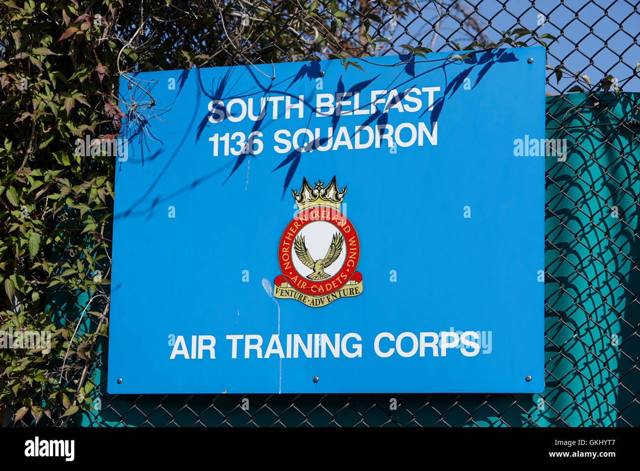 british army air training corps south belfast 1136 squadron sign insignia - Stock Image