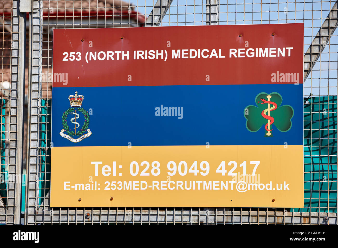 british army 253 north irish medical regiment sign on a base in northern ireland - Stock Image
