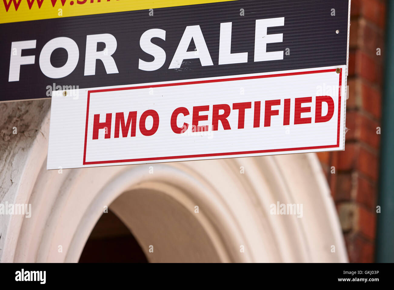 for sale hmo certified sign outside buy to let property in the holylands university area of belfast - Stock Image