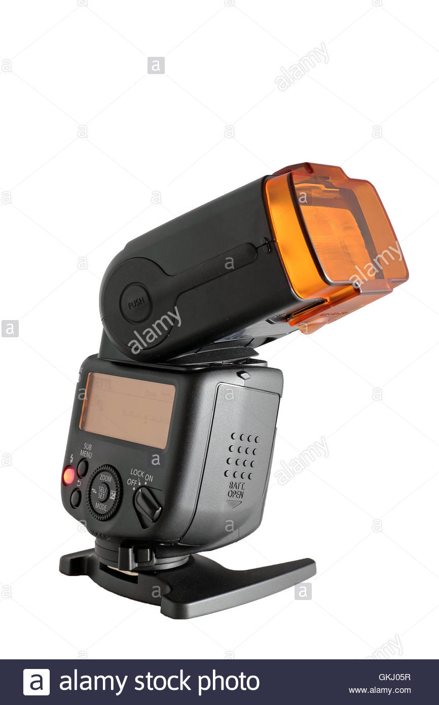 GLASGOW, SCOTLAND - AUGUST 19: Canon 430EX III-RT Speedlite, powered on and sitting on and isolated against a white - Stock Image