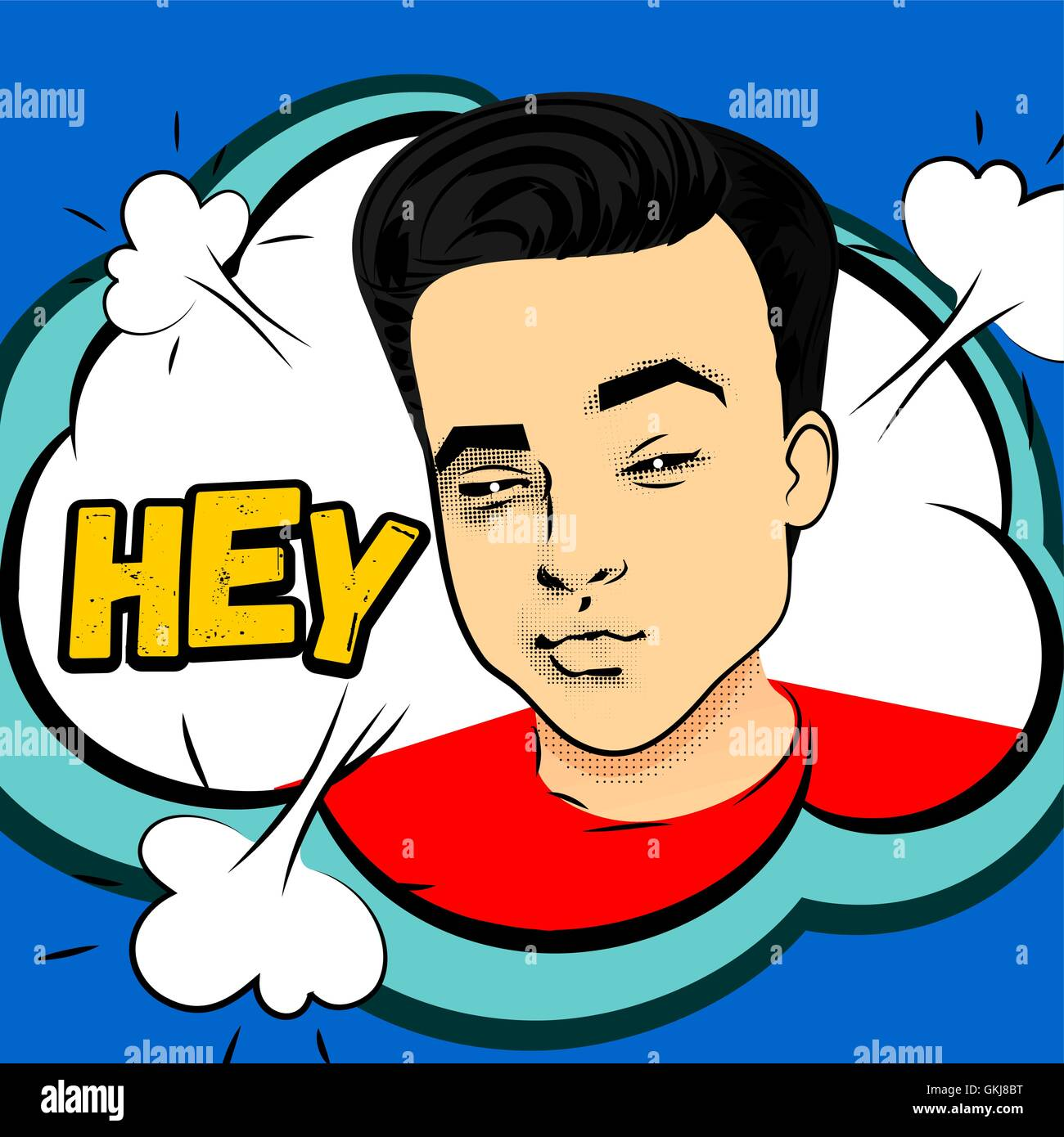 Youth contemporary modern style illustration pop art. Attractive ...