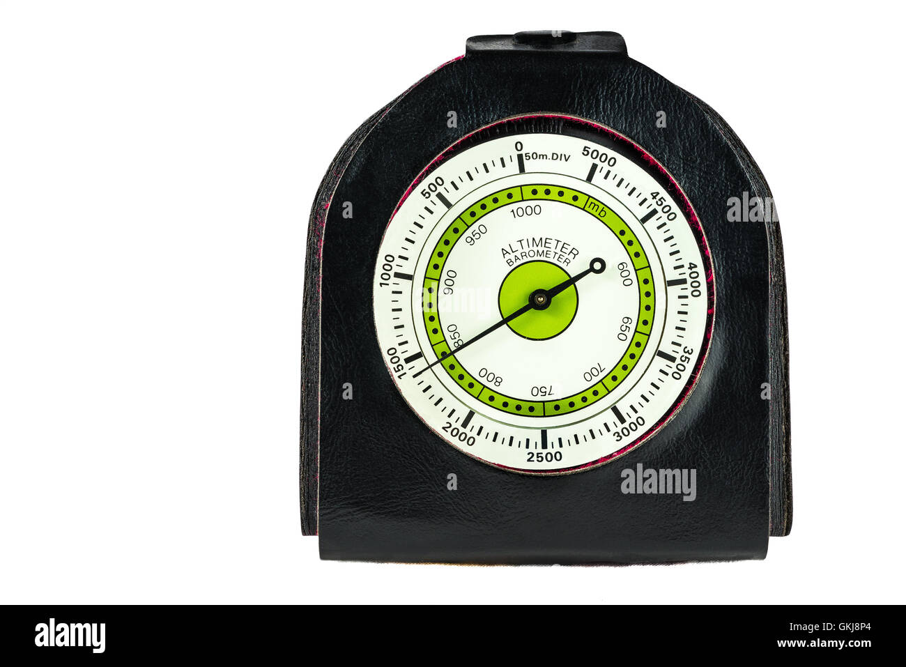 Altimeter and barometer for hiking on white background - Stock Image