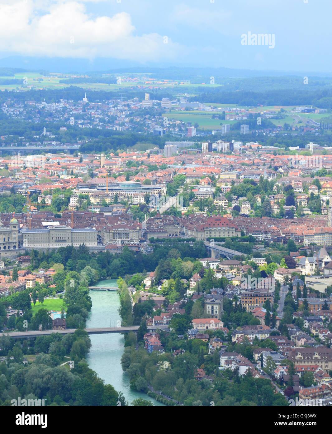 Bern bird eye view. Bern, Switzerland. - Stock Image
