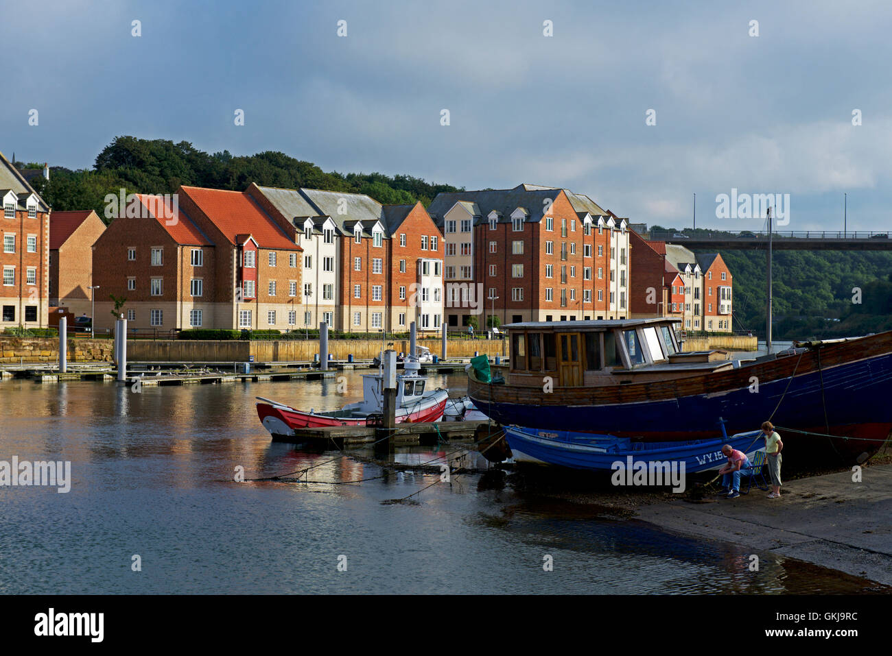 The River Esk at Whitby, North Yorkshire, England UK - Stock Image