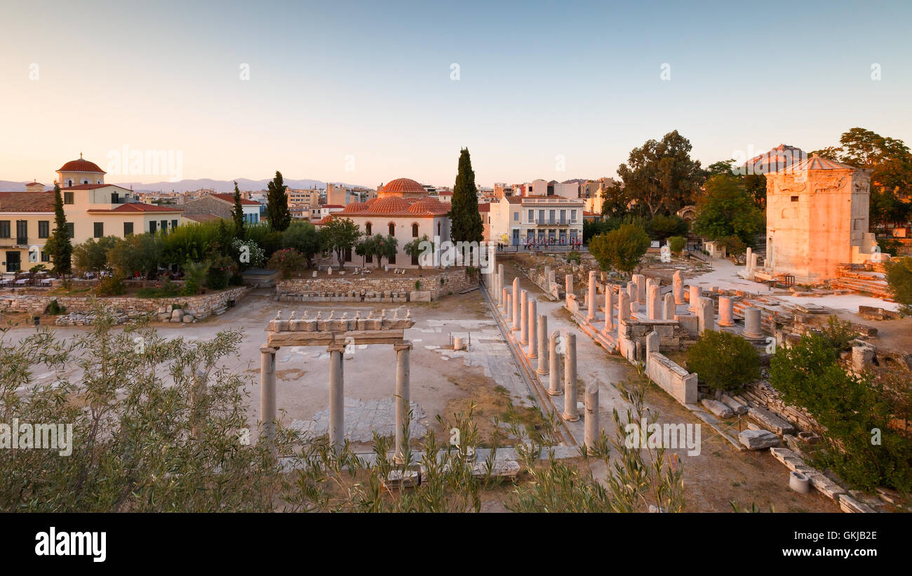 Remains of the Roman Agora and Tower of Winds in Athens, Greece. - Stock Image