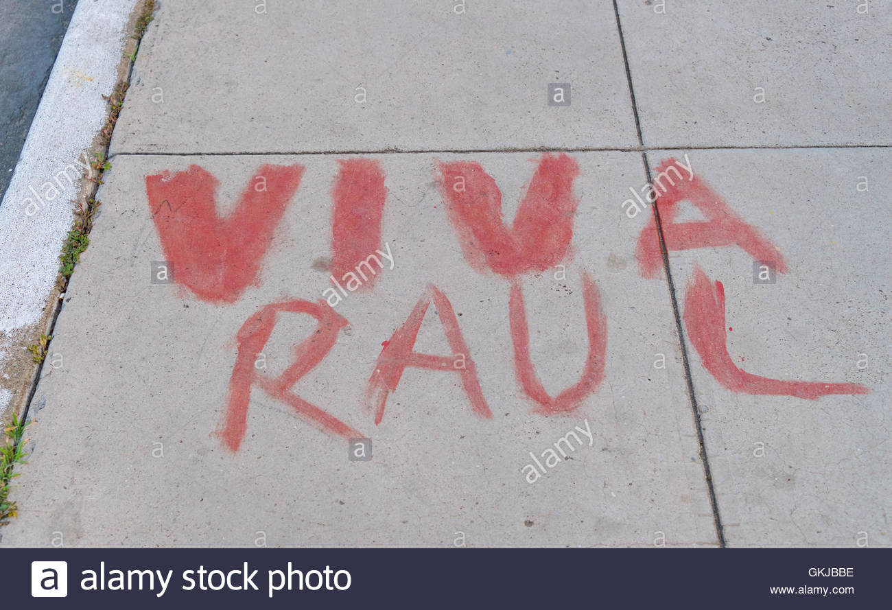 Long Live Raul sign hand-painted on the sidewalk. Cuban lifestyle or way of life - Stock Image