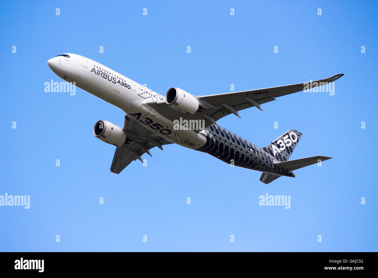 Airbus A350 taking off at Farnborough UK - Stock Image