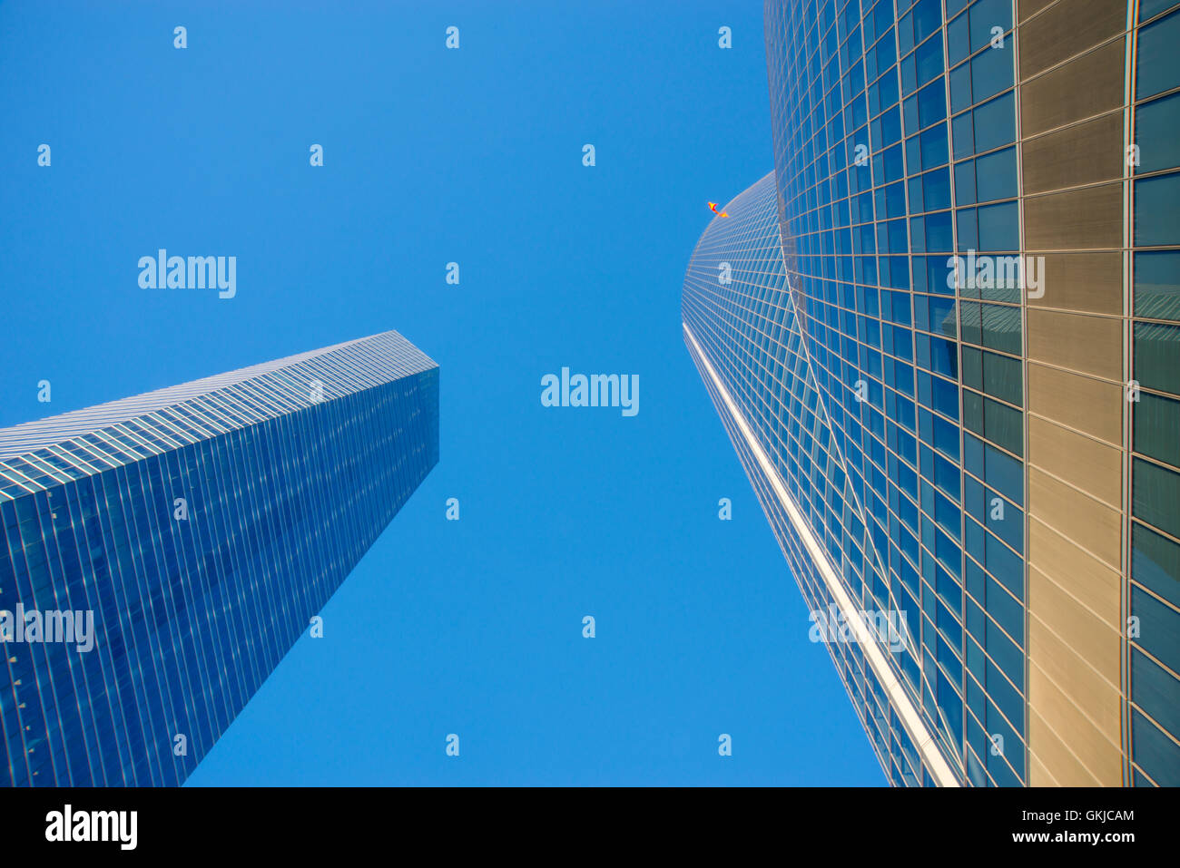 Espacio Tower and Cristal Tower, view from below. CTBA, Madrid, Spain. - Stock Image
