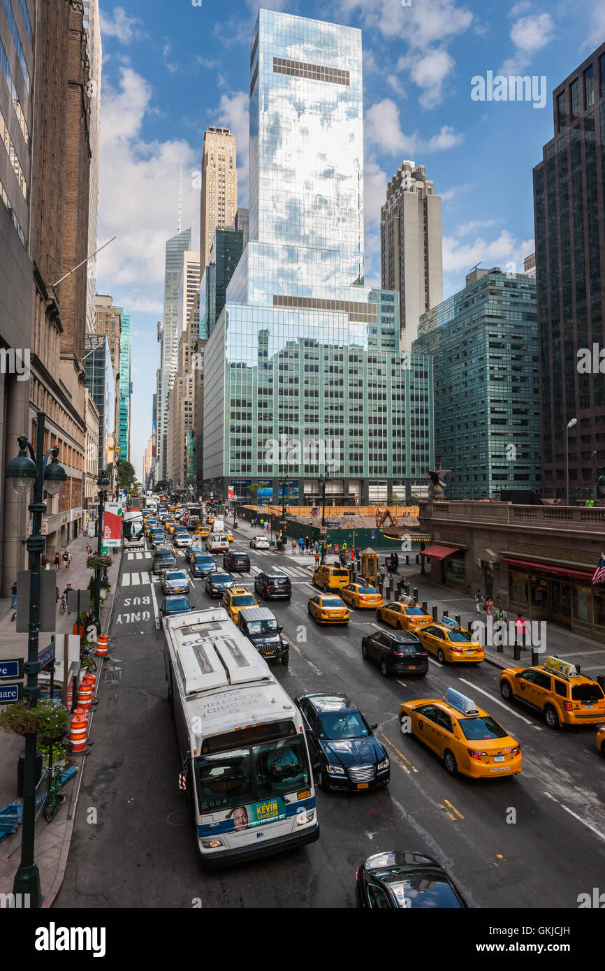 A view of traffic on 42nd street in mid-town Manhattan in New York City. - Stock Image