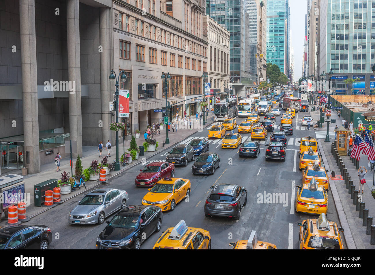 A view of traffic on 42nd street in mid-town Manhattan in New York City. Stock Photo