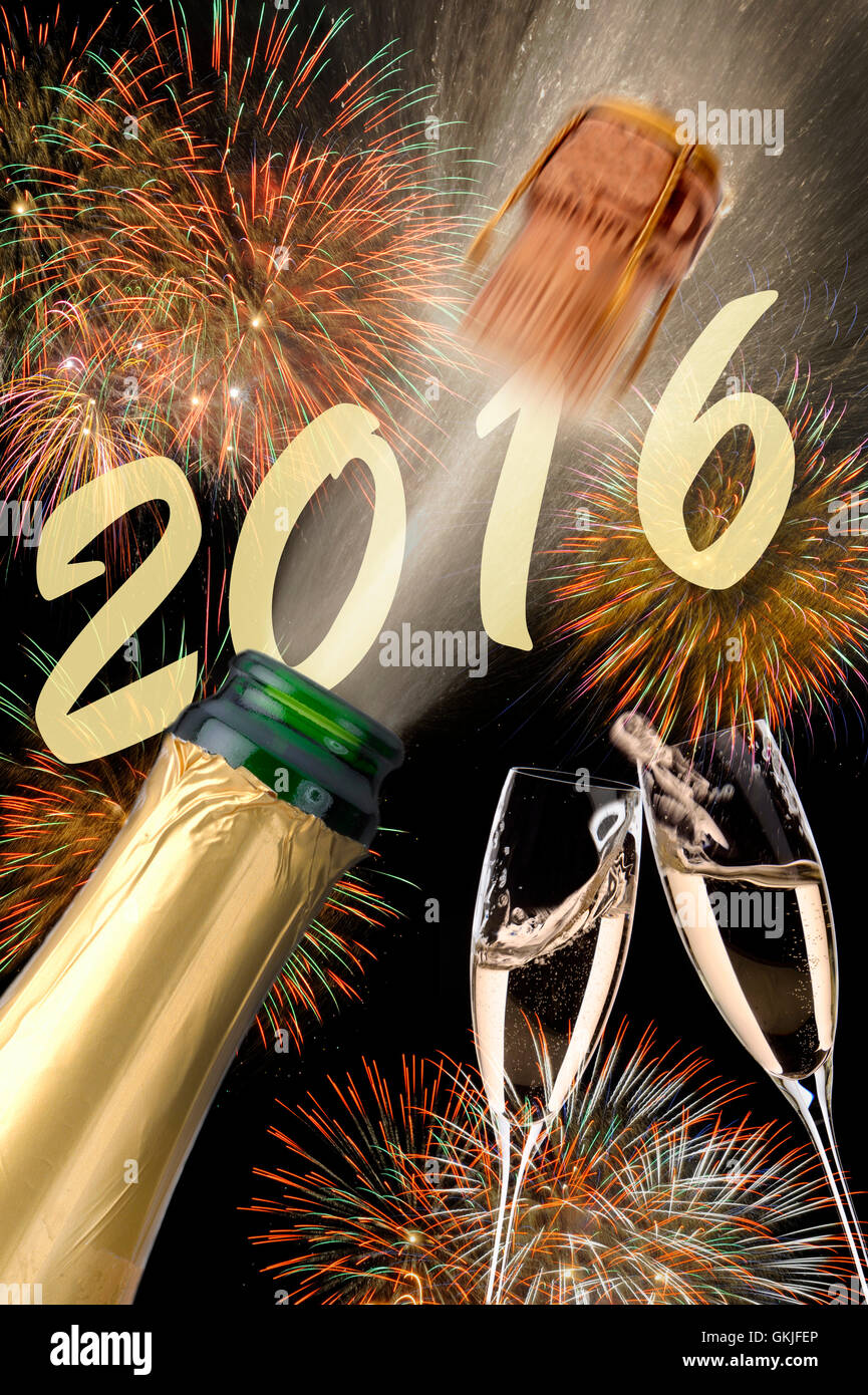 new year 2016 with champagne,flying corks,fireworks and year Stock Photo
