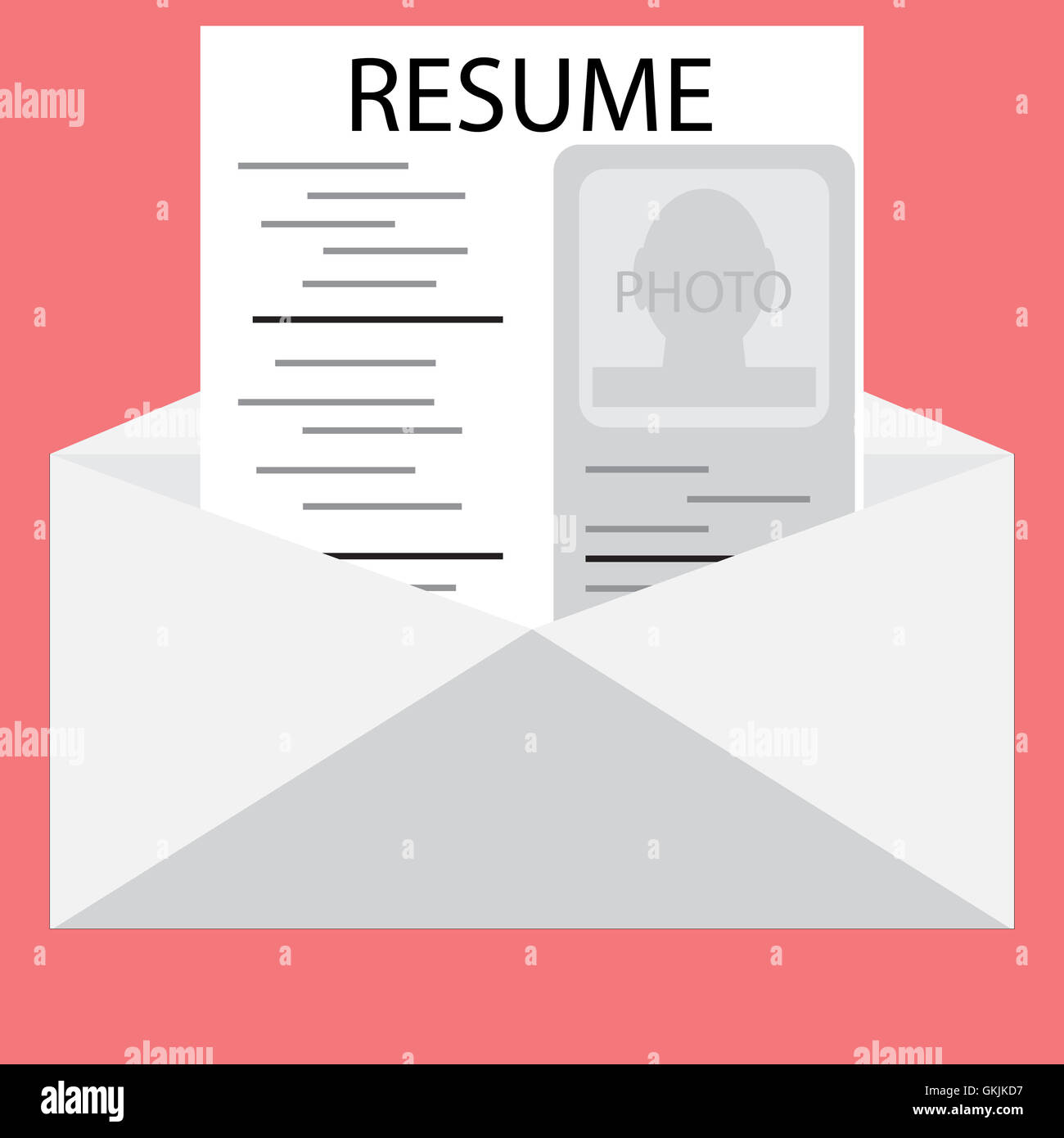 Templates Resume In An Envelope Invite To Job Interview Stock