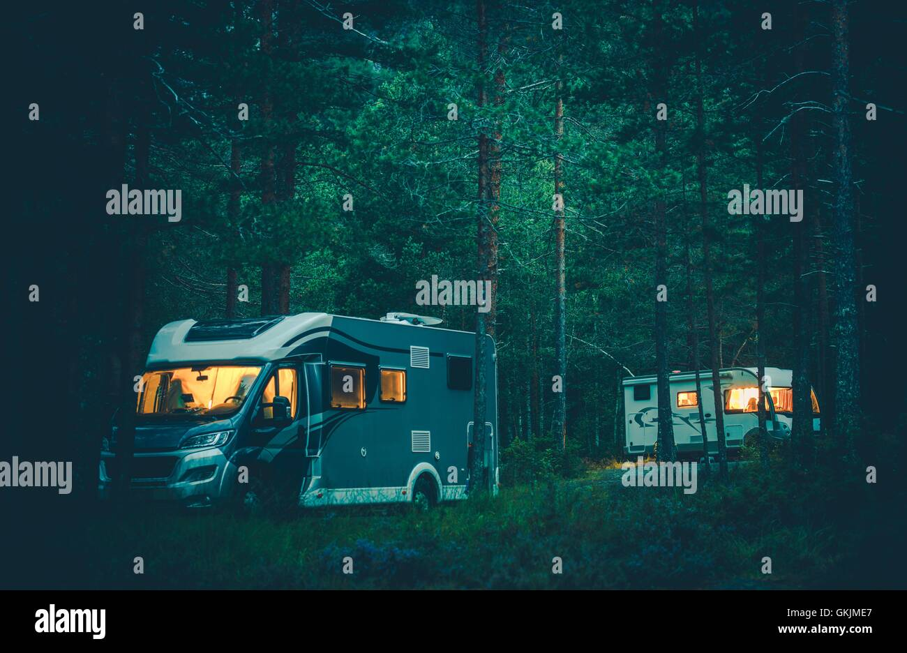 Camping in the woods at night Wild Camping Motorhomes Camping In Wild Rv Boondocking In The Forest At Night Traveling In The Camper Van Alamy Motorhomes Camping In Wild Rv Boondocking In The Forest At Night