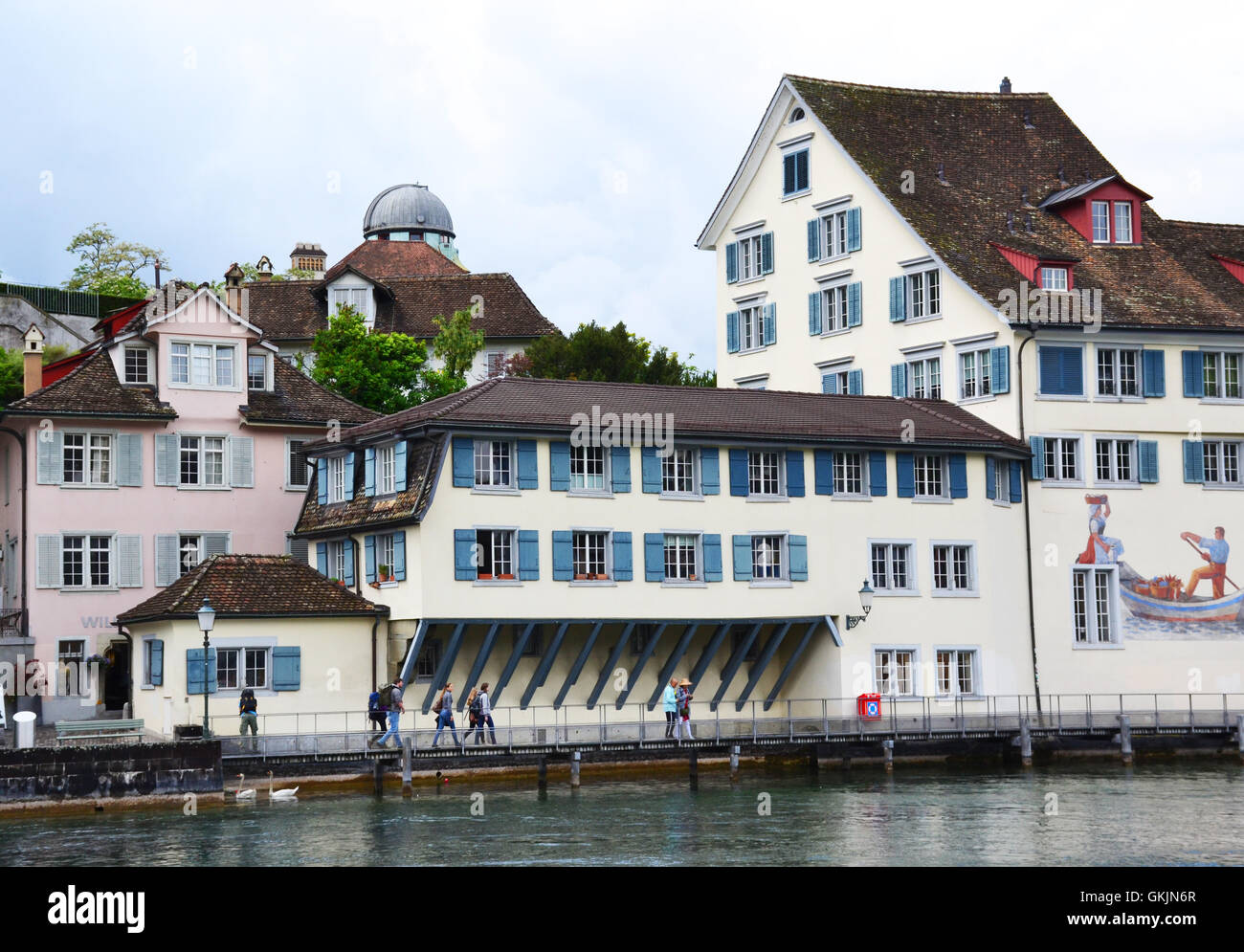 View of Zurich with Limmat river, Switzerland. - Stock Image