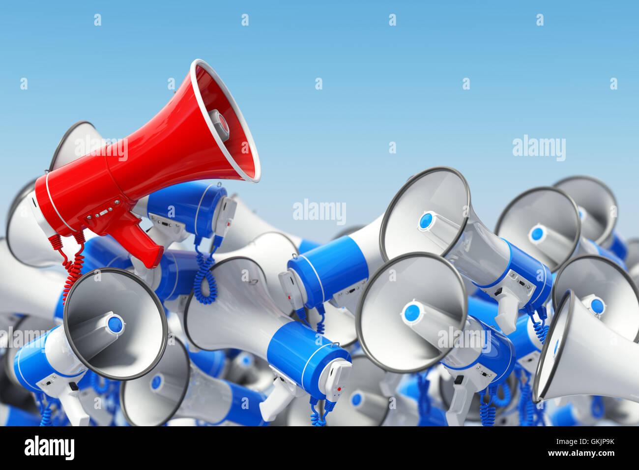 Megaphones. Promotion and advertising, digital marketing or social network. Leader of protest or revolution  concept. - Stock Image