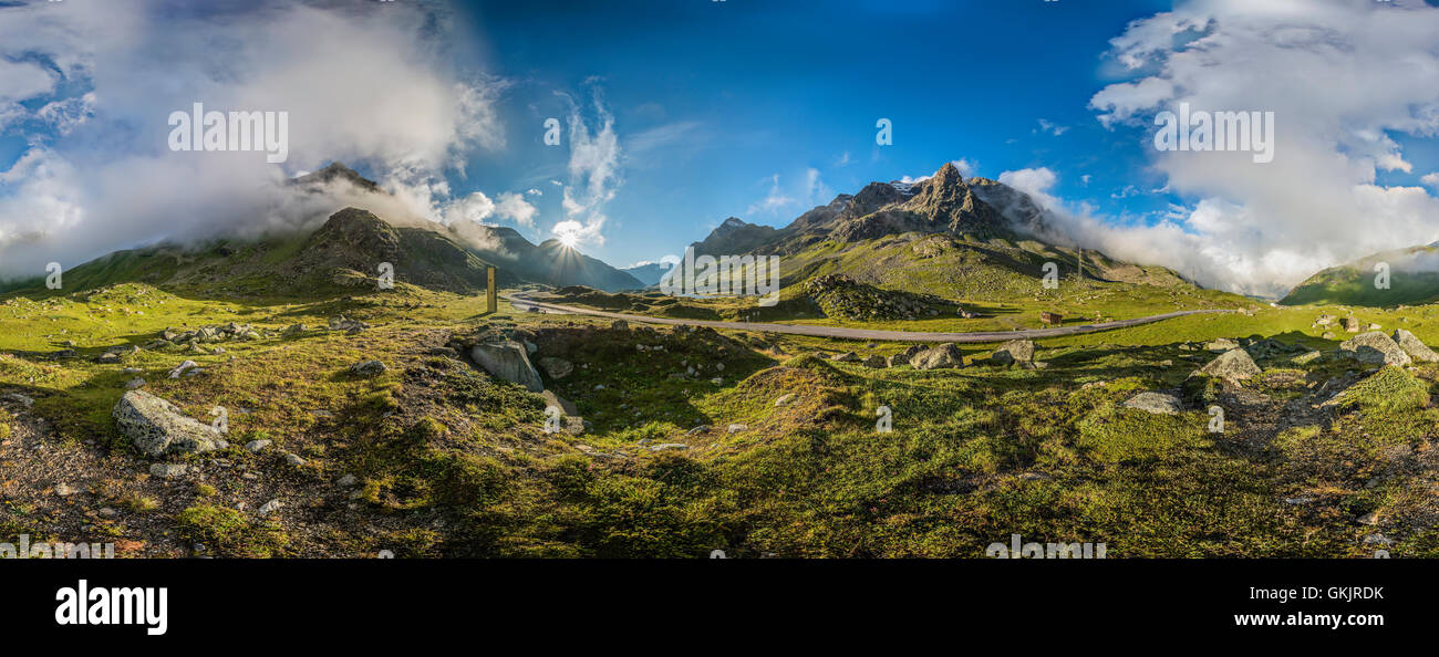 360 Degree Panorama of a mountain landscape at Julier Pass Road, Engadine, Grisons, Switzerland - Stock Image