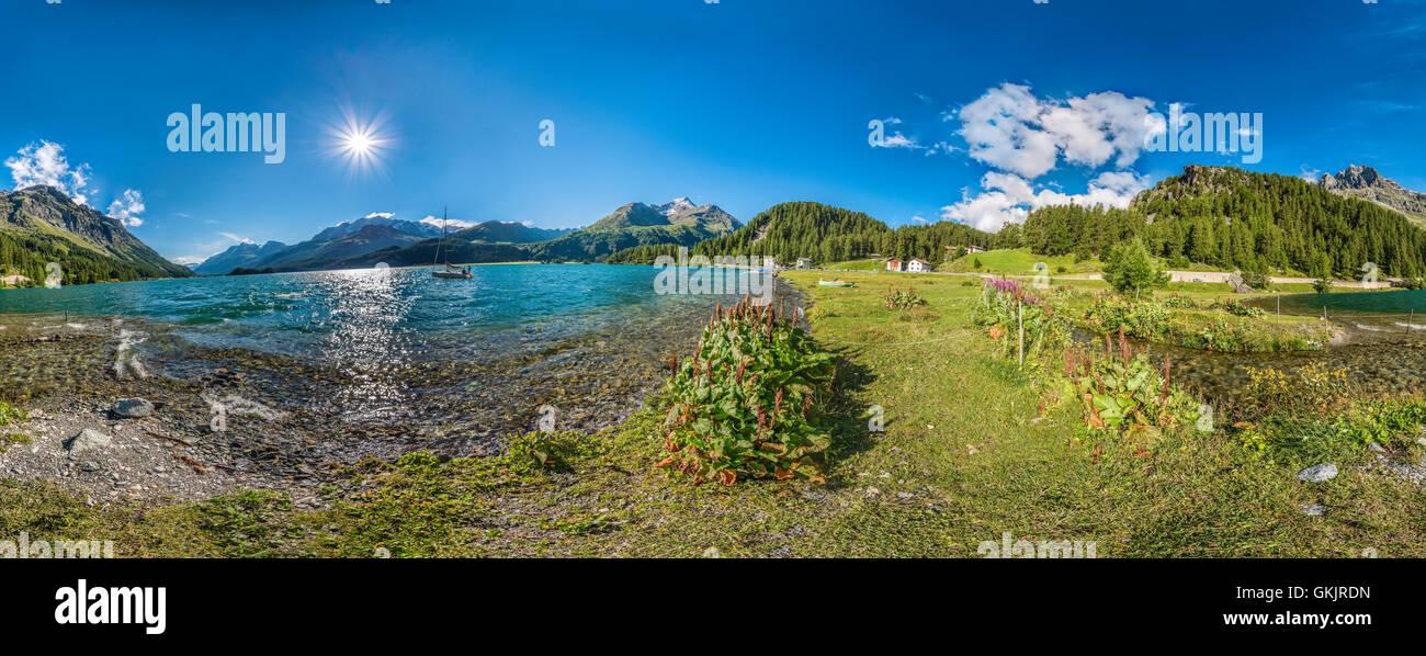 360 Degree Panorama of Lake Sils at Plaun da Leij at the Engadine Valley, Grisons, Switzerland - Stock Image