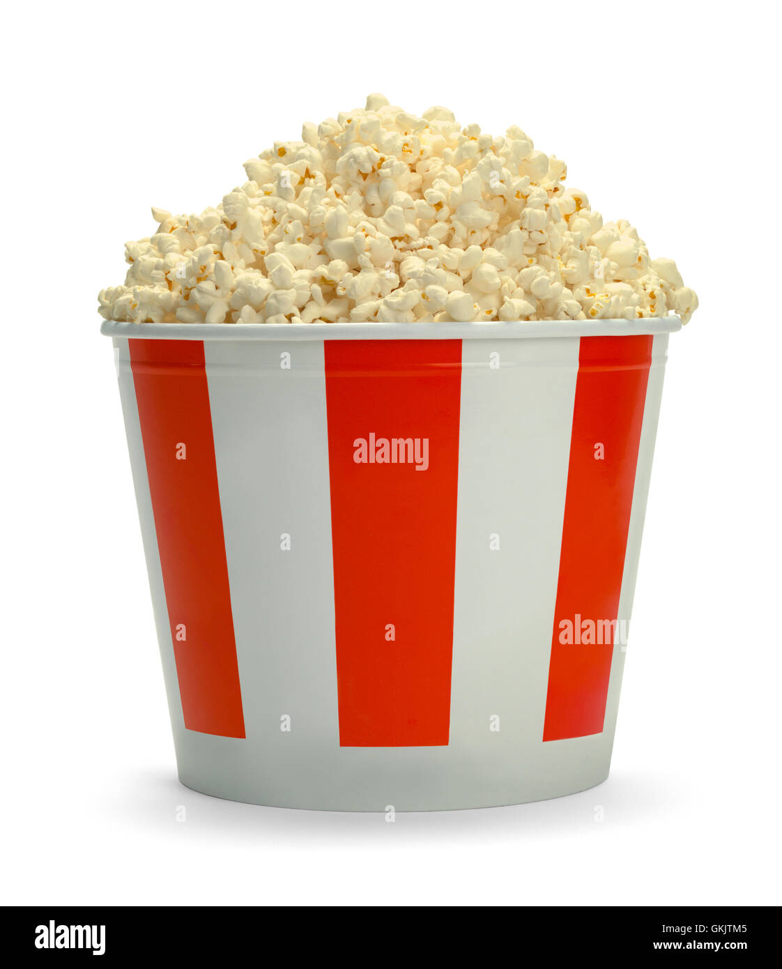 Large Full Bucket of Popcorn Isolated on White Background. - Stock Image