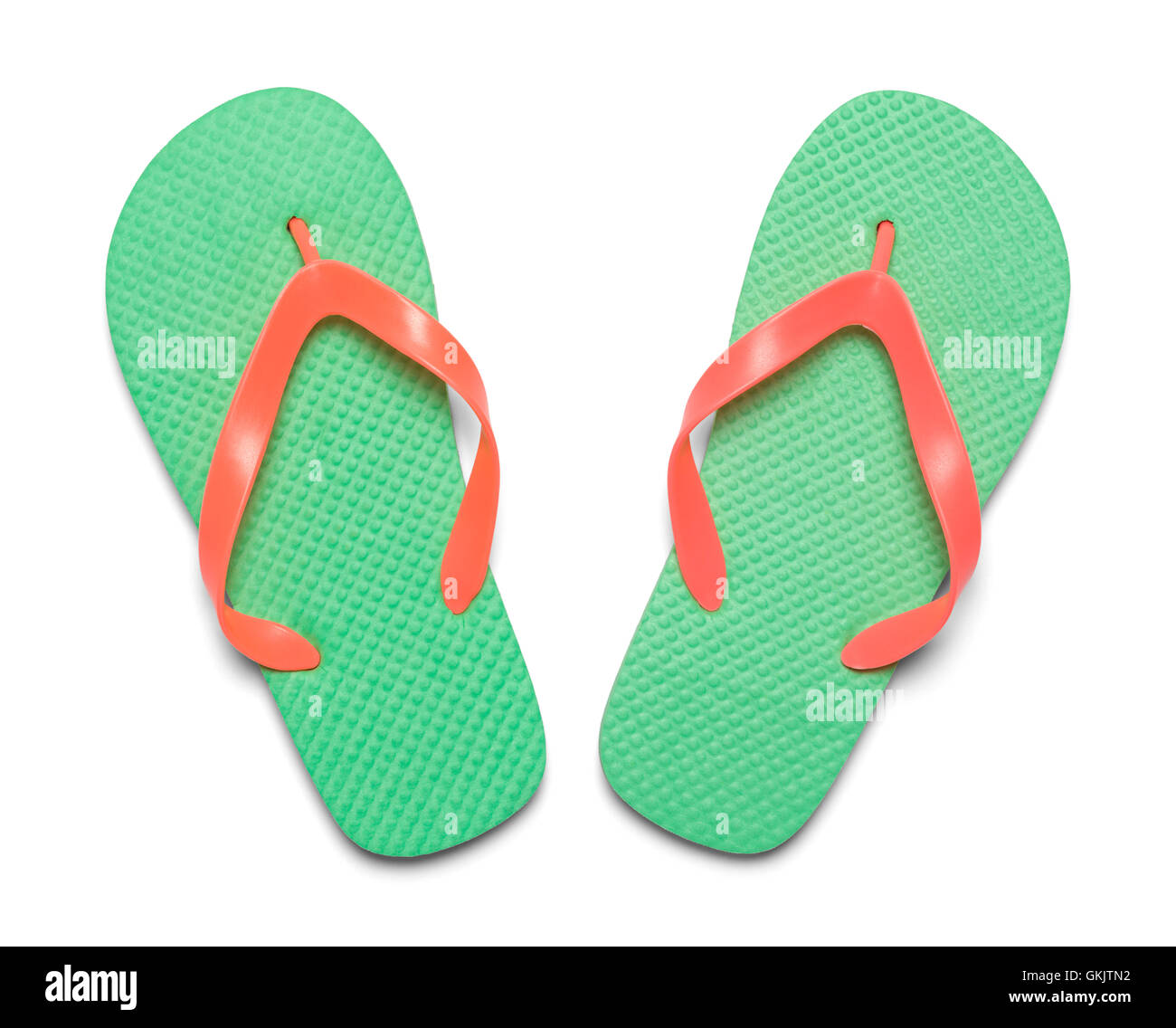Pair of Light Green Flip Flops  Top View Isolated on White Background. - Stock Image