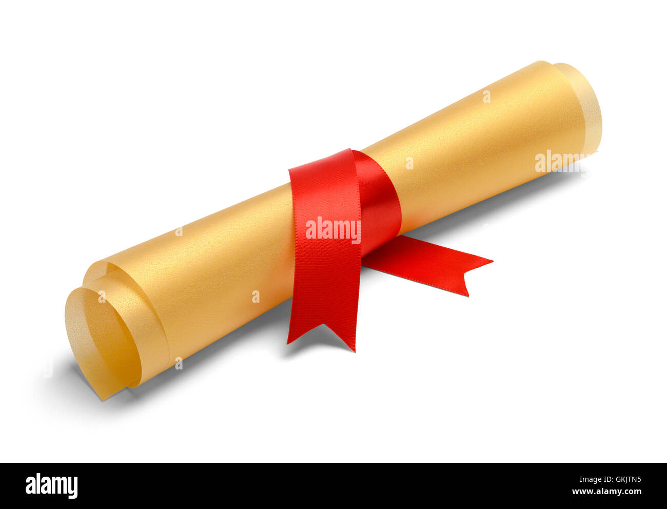 Golden College Degree with Red Ribbon Isolated on White Background. - Stock Image