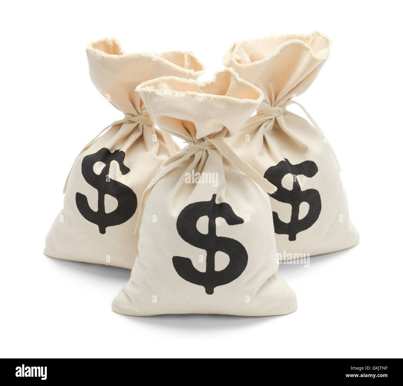 Three Tied Money Bags Isolated on White Background. - Stock Image