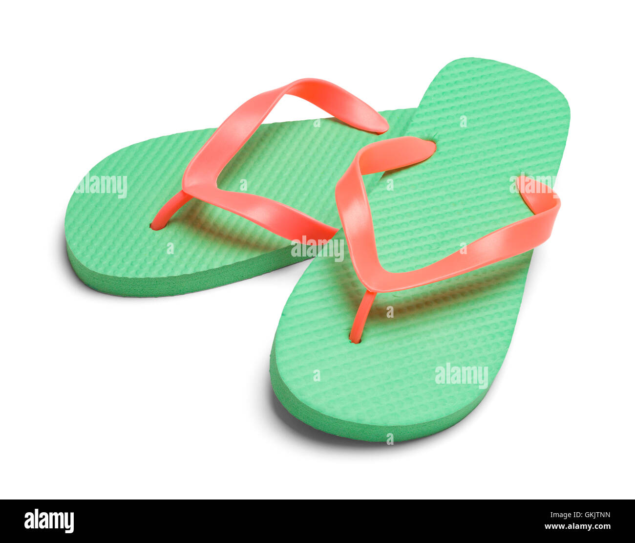 Pair of Light Green Flip Flops Isolated on White Background. - Stock Image