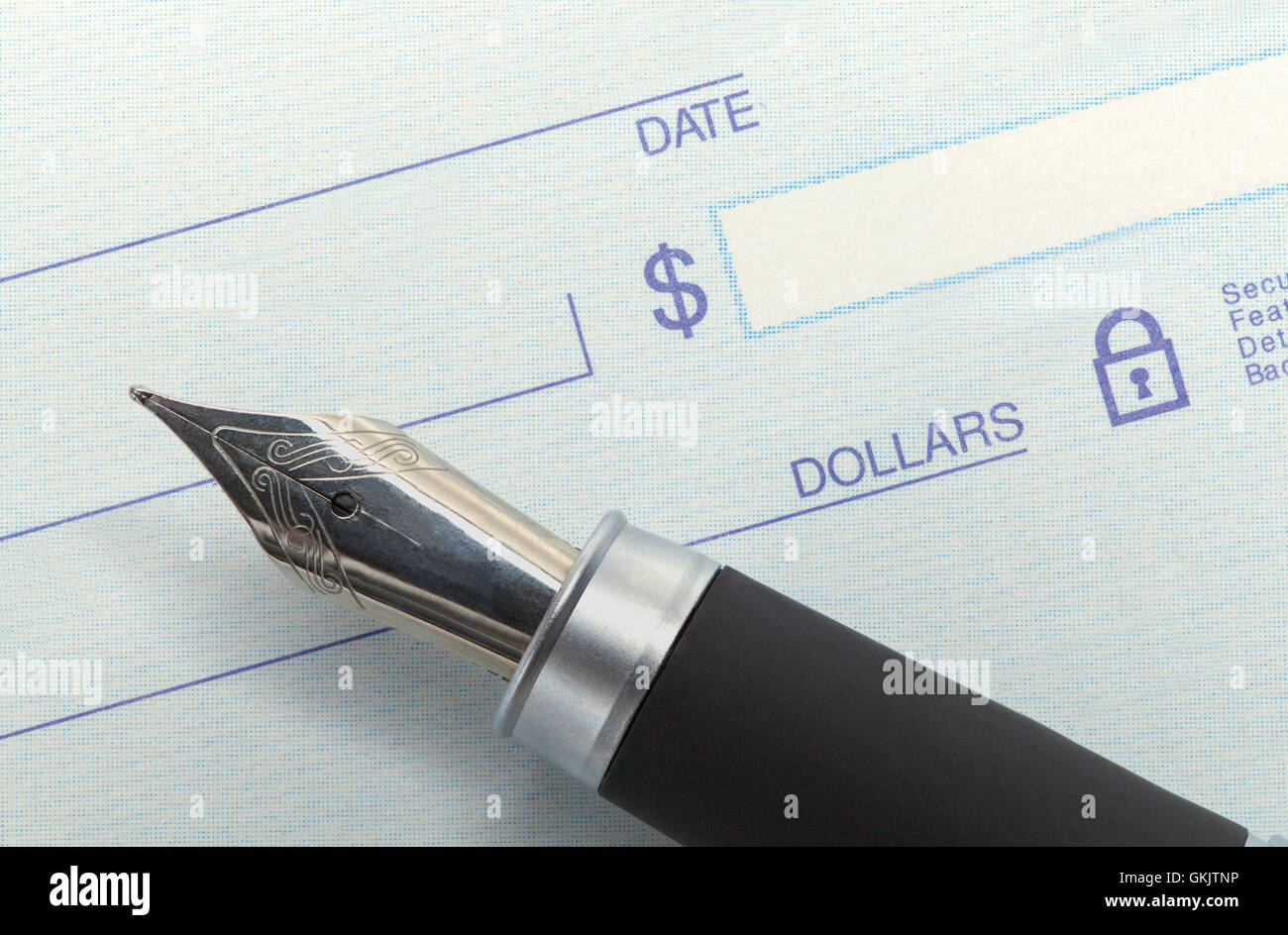 Bank Check and Fancy Pen with Copy Space. - Stock Image