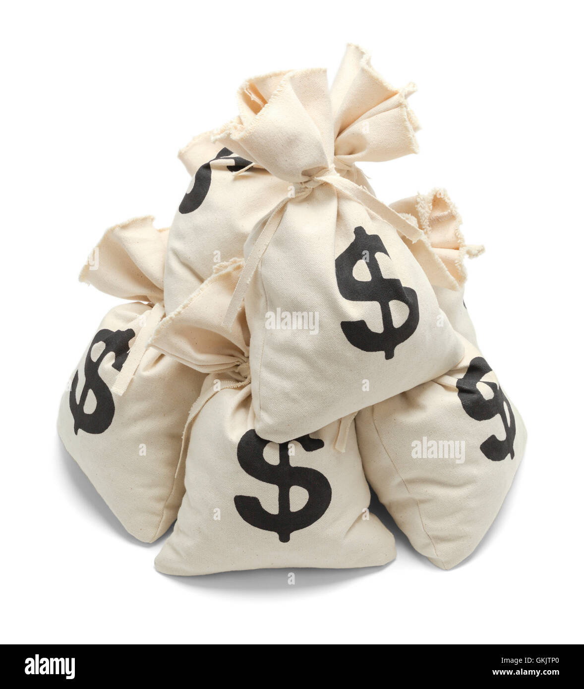 Pile of Bank Money Bags Isolated on White Background. - Stock Image