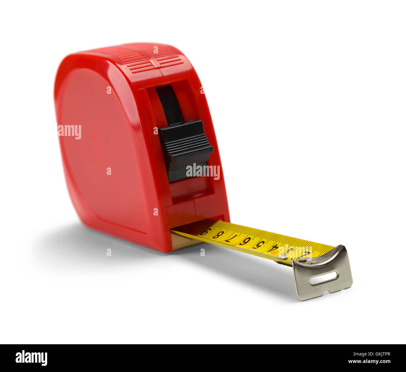 Red Tape Measure Isolated on White Background. - Stock Image