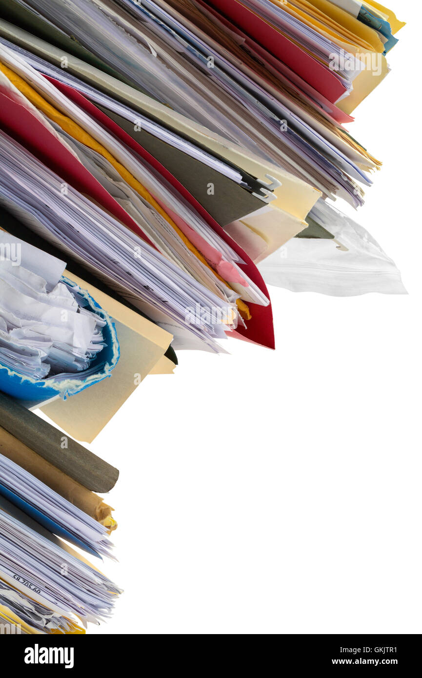 Stack of Leaning Files Isolated on White Background. - Stock Image