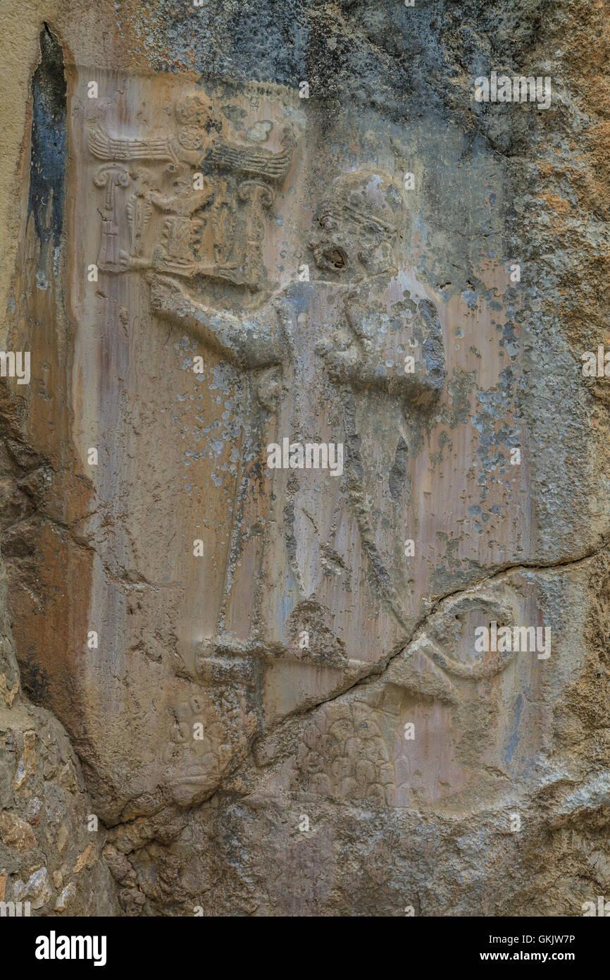 Yazilikkaya, Hittite writings carved into the rock - Stock Image