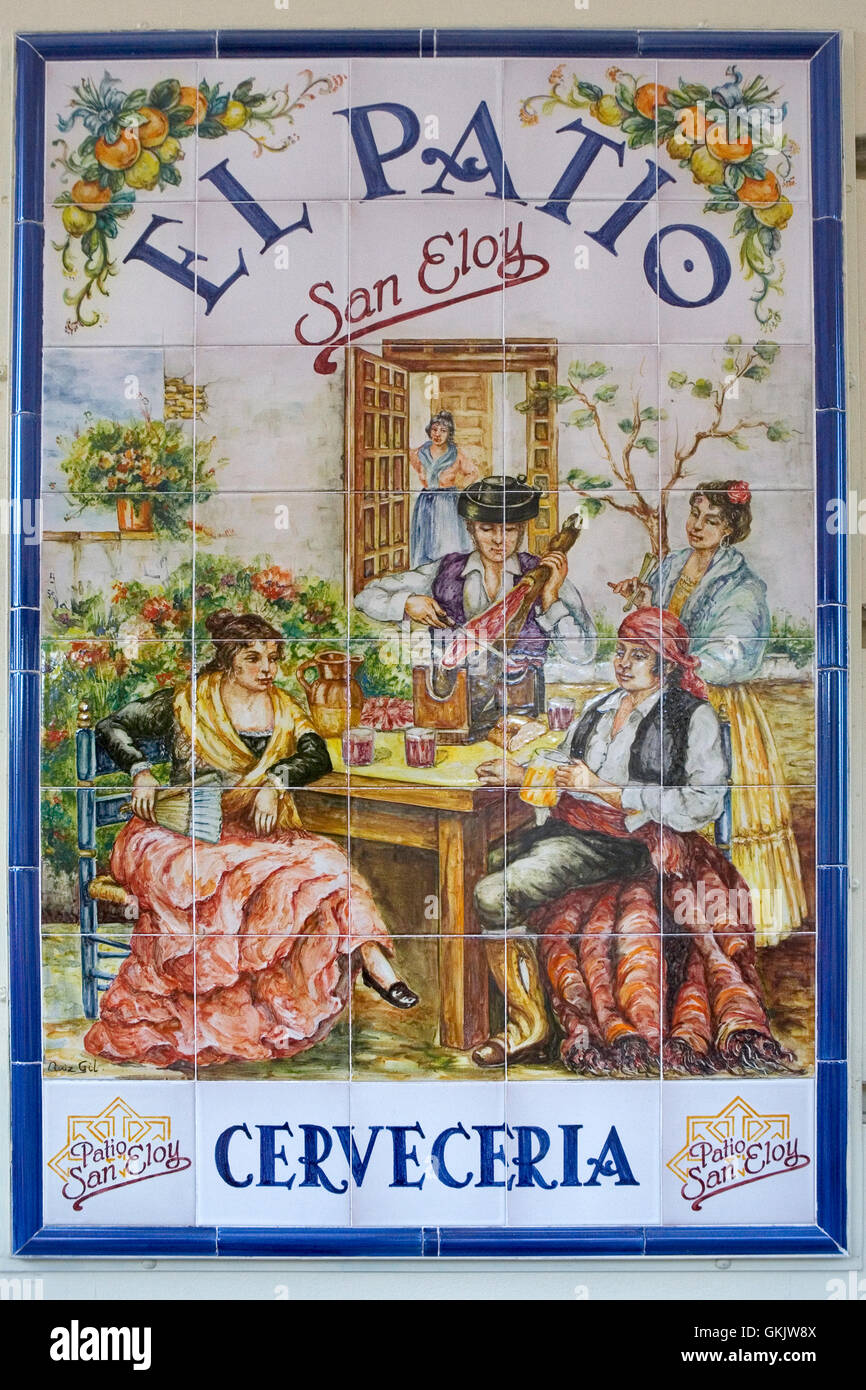 Advertising Sign In Traditional Tiles Patio San Eloy Cerveceria