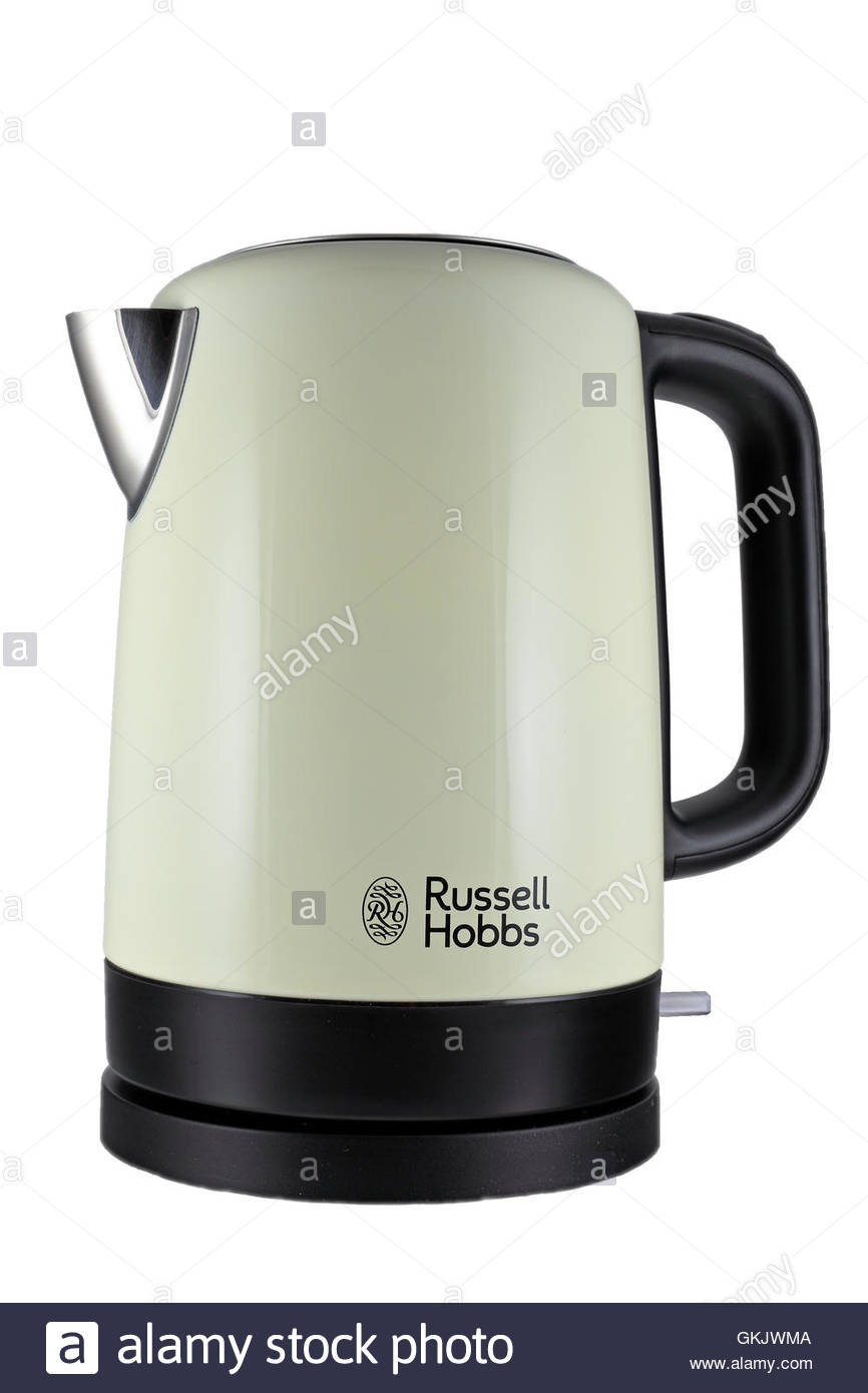GLASGOW, SCOTLAND - AUGUST 19: Russell Hobbs Canterbury kettle isolated against a white background. - Stock Image