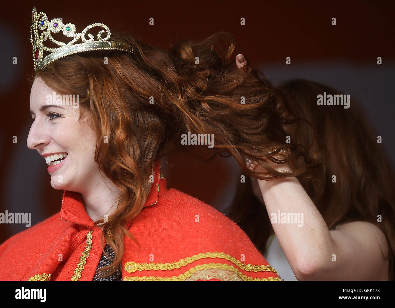 The newly crowned 'Queen of the Redheads' Emma Ni Chearuil at the Irish Redhead Convention held in the village - Stock Image
