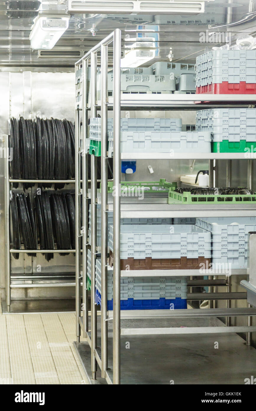 Dishwashing Racks and Trays in commercial kitchen Stock Photo ...