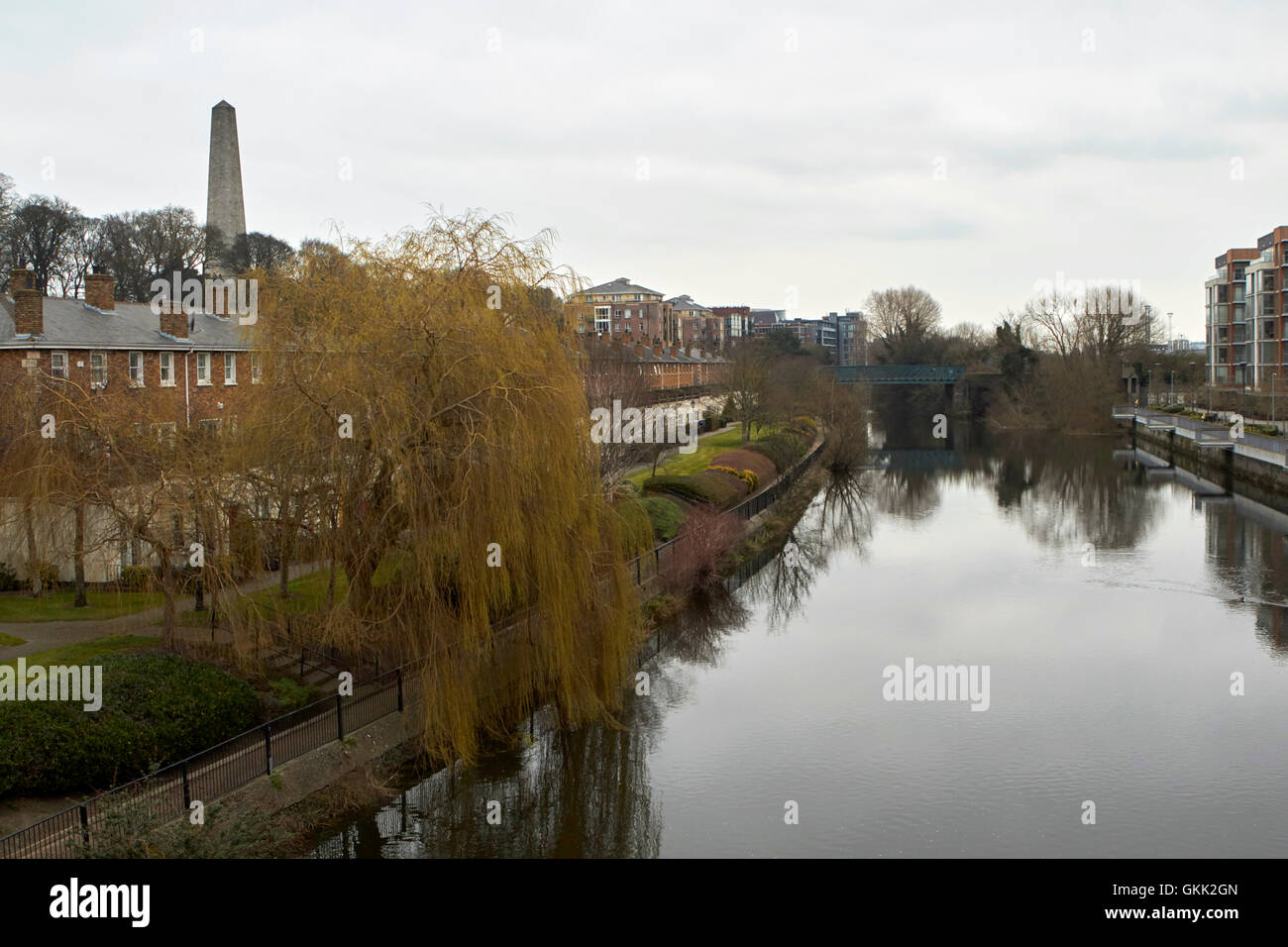 river liffey by st james walk on overcast day dublin Ireland - Stock Image