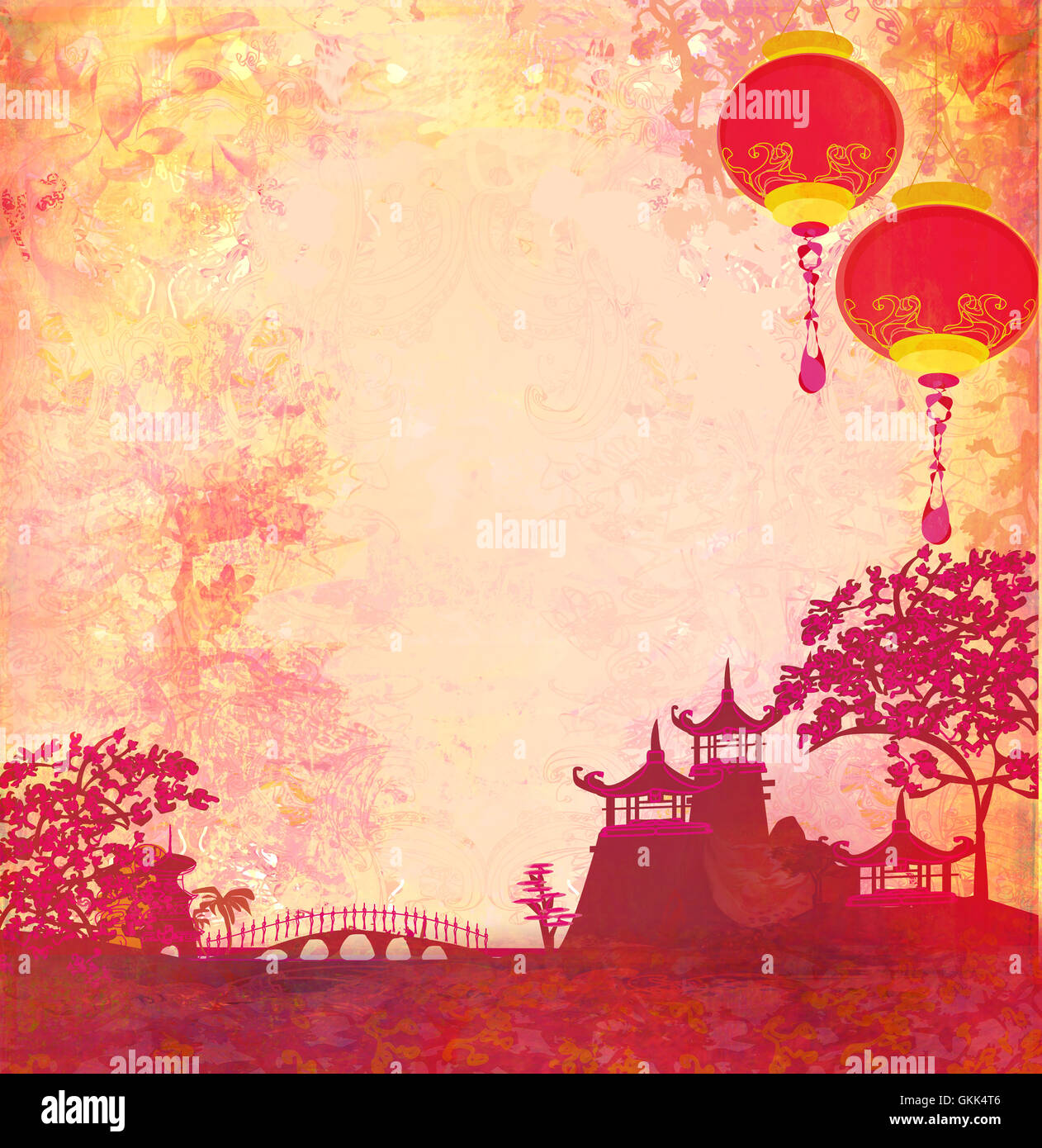 old paper with asian landscape and chinese lanterns vintage stock