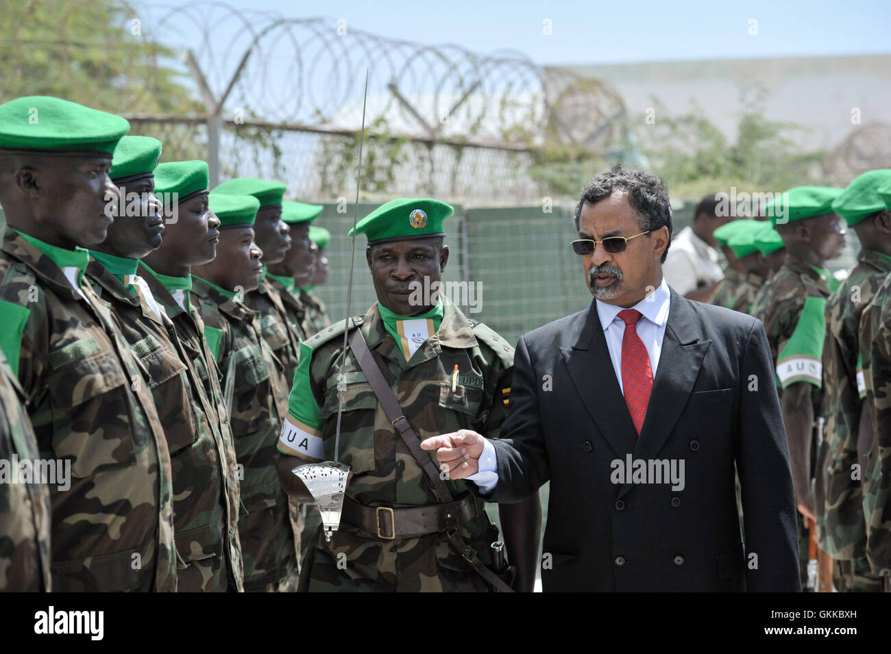 SRCC Mahamet Saleh Anadif inspects the guard of honor before the handover ceremony for the new Force Commander of - Stock Image
