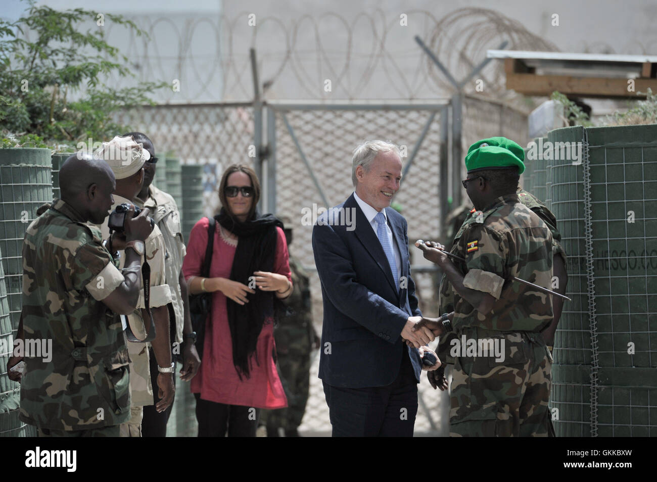The UN's Special Represntative of the Secretary-General for Somalia, Nicholas Kay, greets AMISOM officials as - Stock Image
