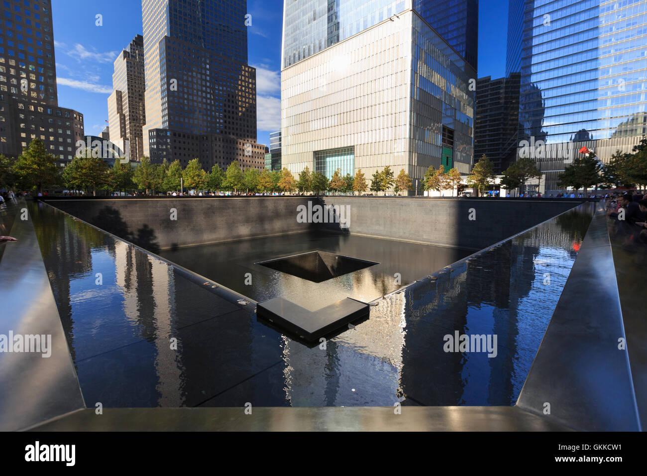 USA, New York, New York City, Manhattan, National Semptember 11 Memorial - Stock Image