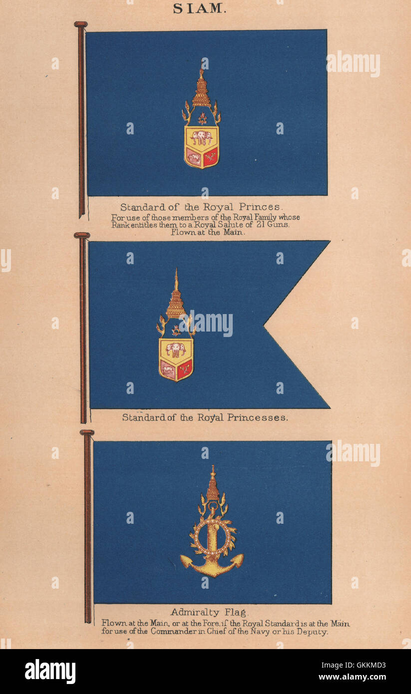 SIAM FLAGS. Standard of Royal Princes/Princesses. Admiralty Flag. Thailand, 1916 - Stock Image