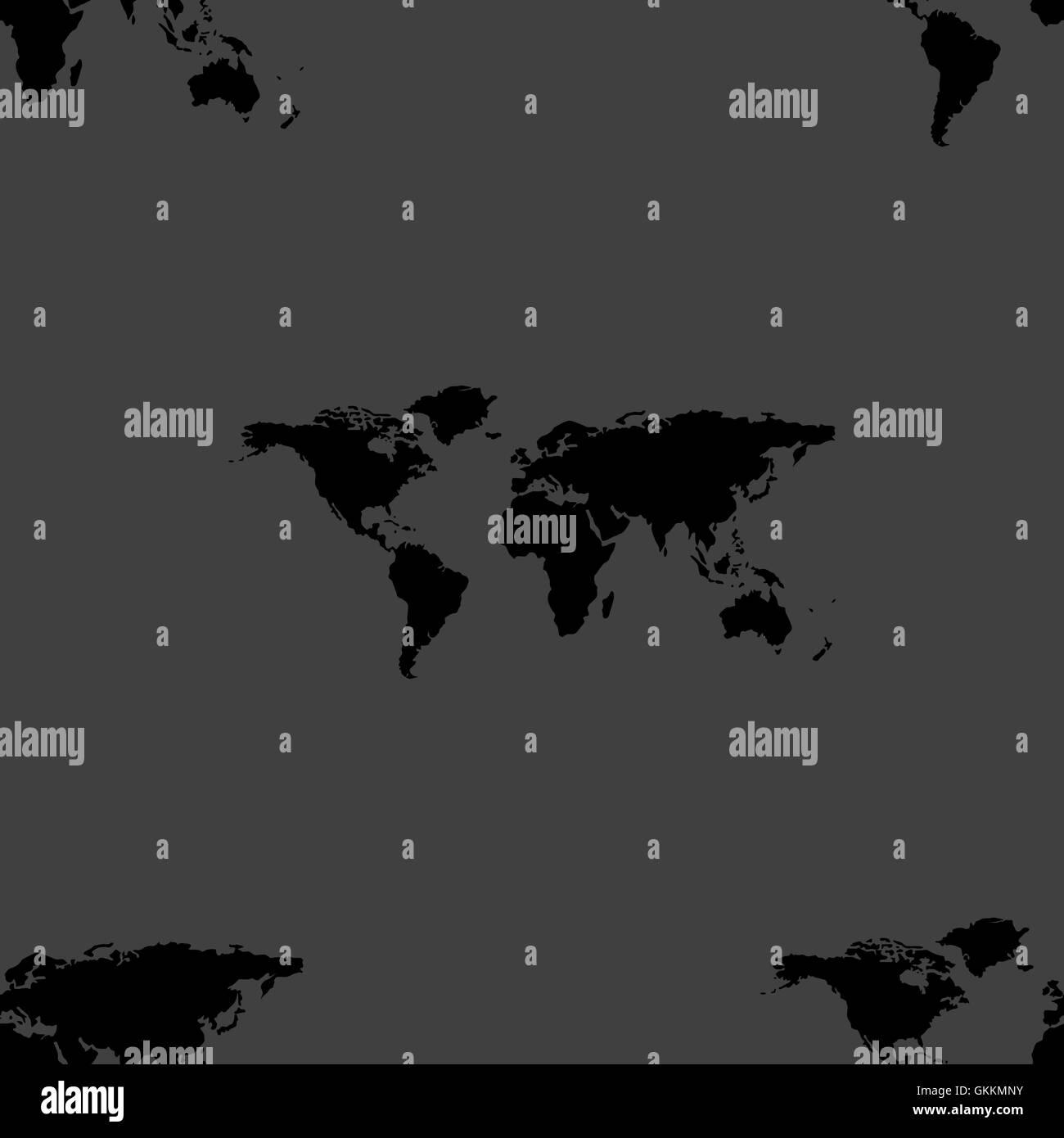 World map web icon. flat design. Seamless gray pattern. - Stock Vector