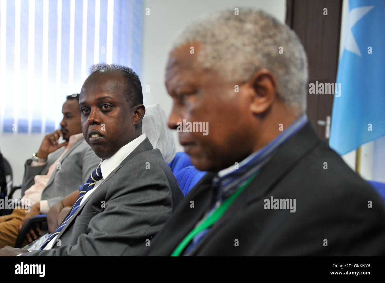 Maj. Gen. Fidza Dludlu, the Acting Head of the African Union Mission in Somalia (AMISOM) and Hared Ali Hared, the - Stock Image
