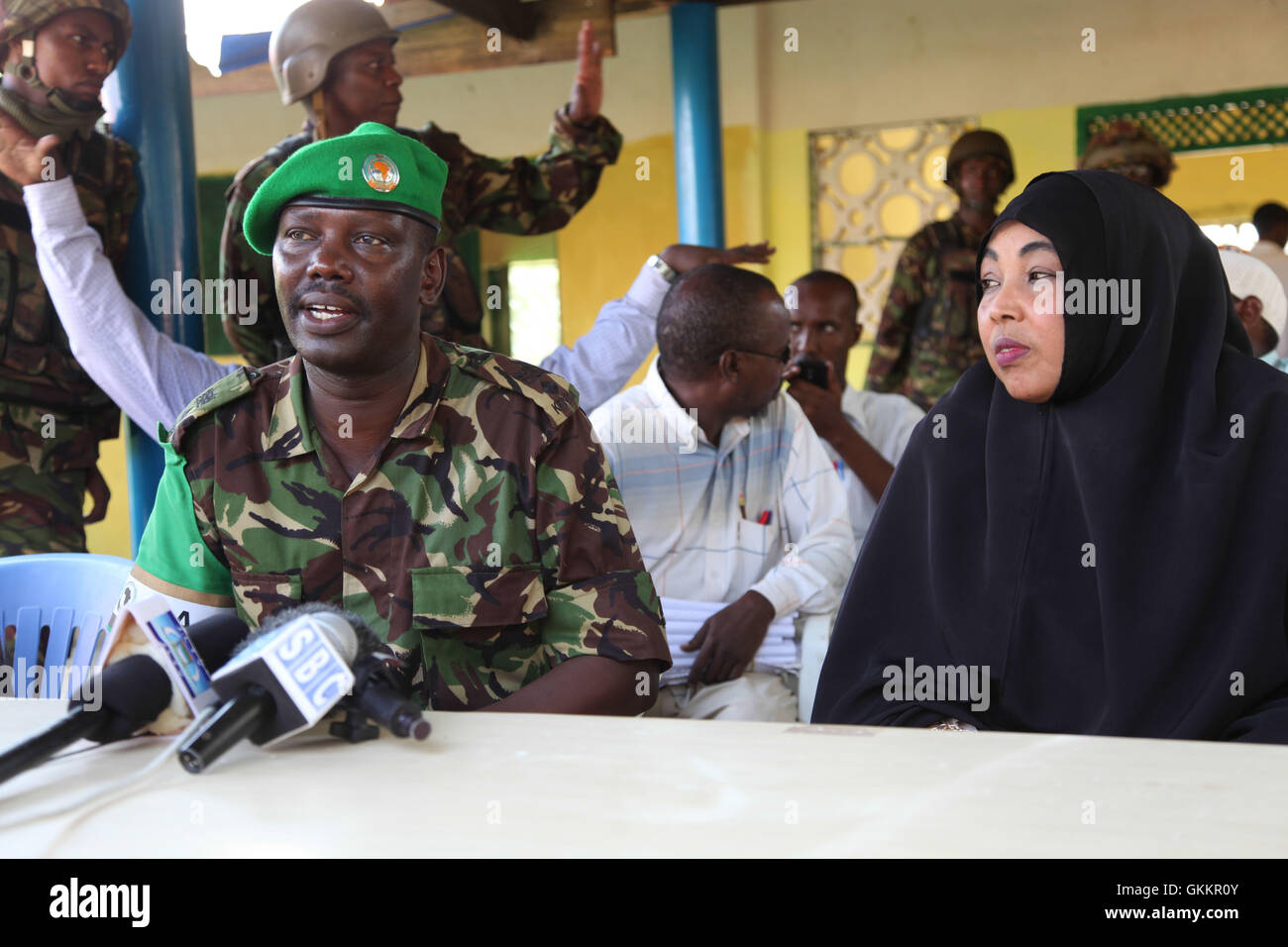 From left to right: The African Union Mission in Somalia (AMISOM) Sector Kismayo Commander, Lt. Colonel John Kipya, Stock Photo