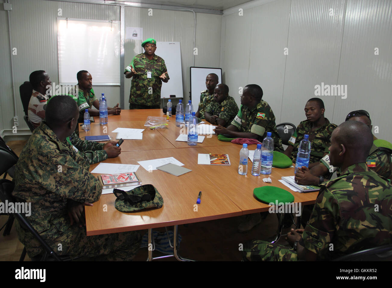 The AMISOM Force Spokesperson, Lt Col. Paul Njuguna speaks during a radio communication training for AMISOM Public Stock Photo