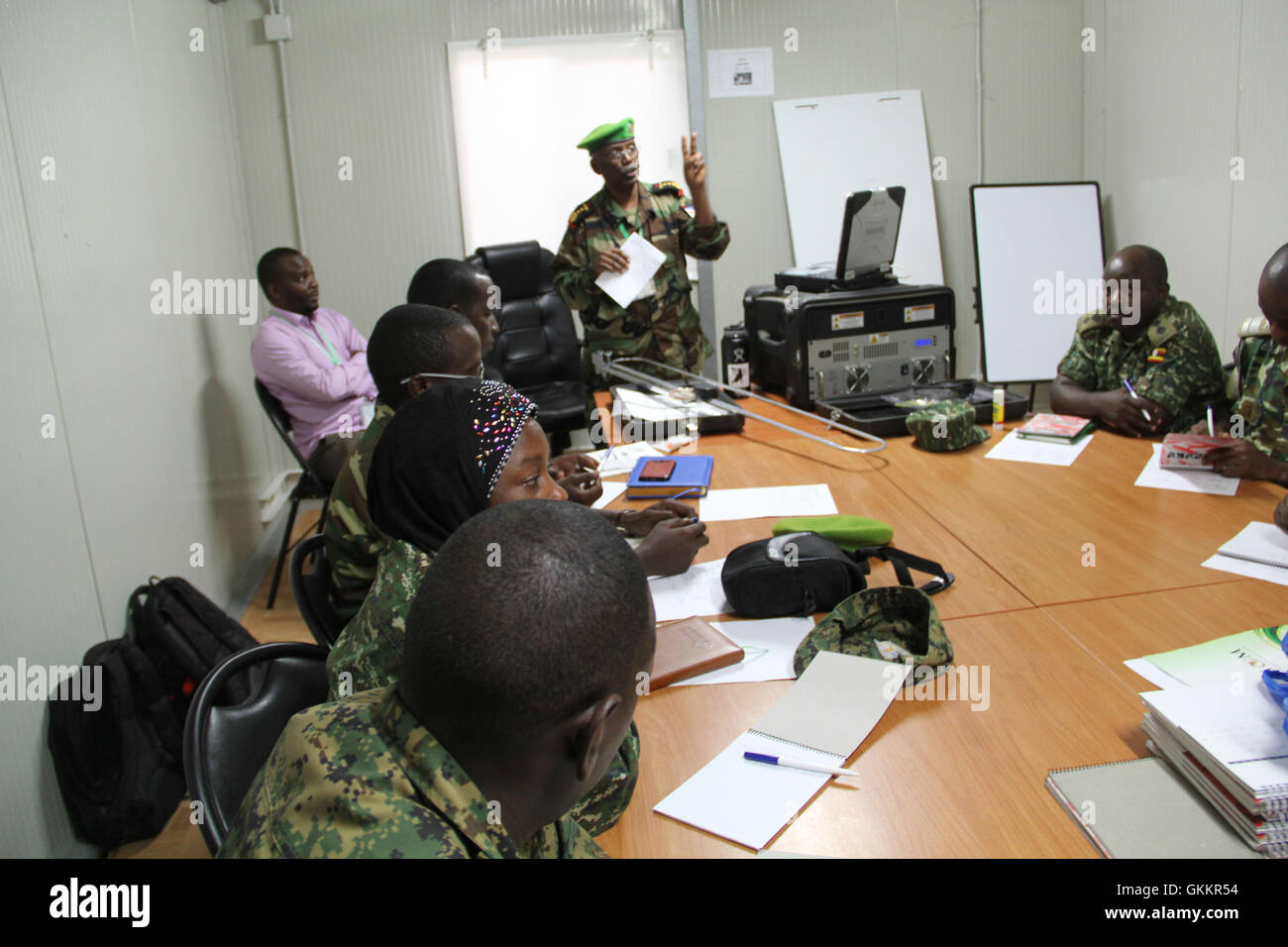 The AMISOM Military Chief of Staff Col. Daher Aden speaks during a radio communication training for AMISOM Public Stock Photo